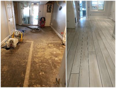 Residential Flooring Faux Wood Before & AfterResidential Flooring Faux Wood Before & After